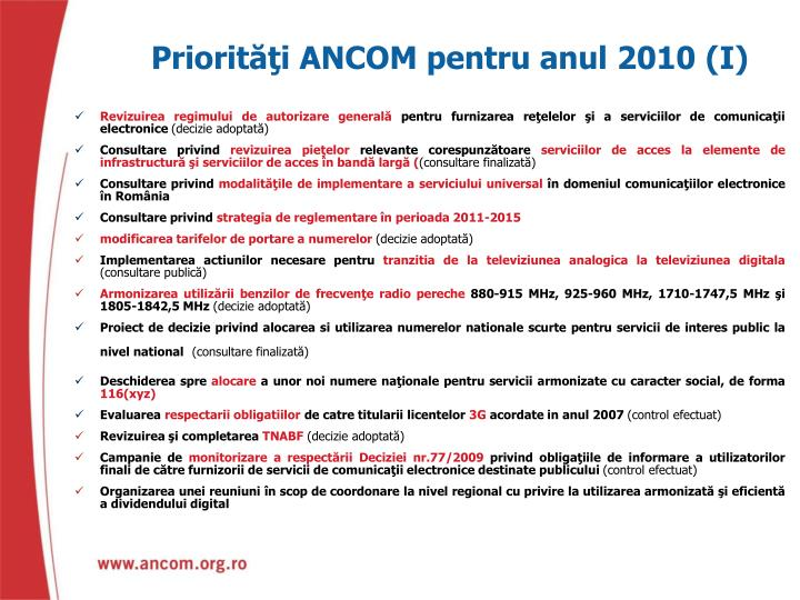 Priorităţi ANCOM pentru anul 2010 (I)