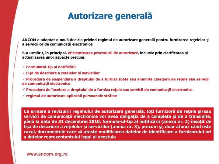 Autorizare generală