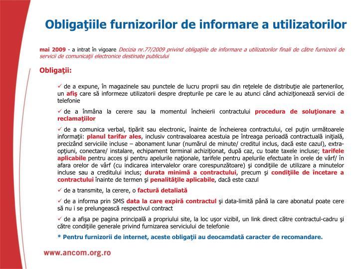 Obligaţiile furnizorilor de informare a utilizatorilor