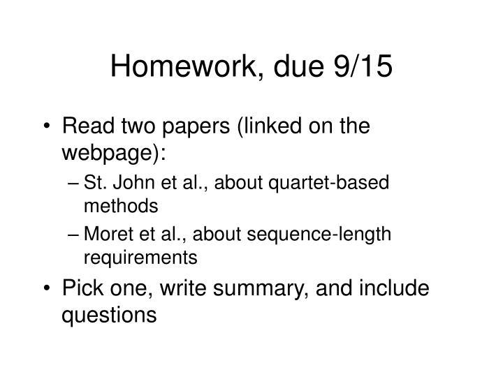 Homework, due 9/15