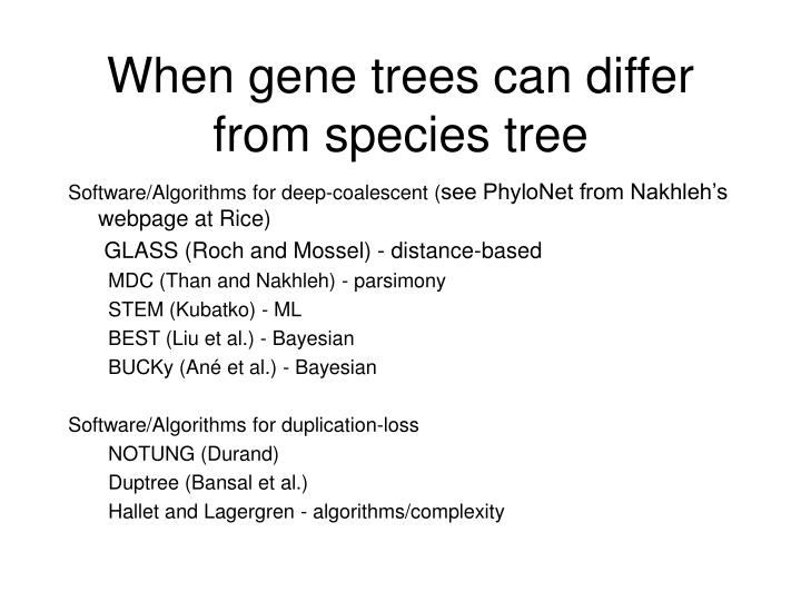 When gene trees can differ from species tree
