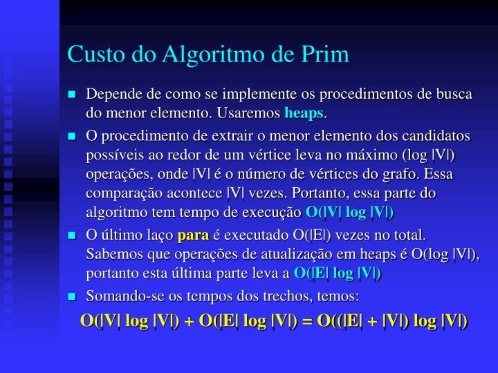 Custo do Algoritmo de Prim