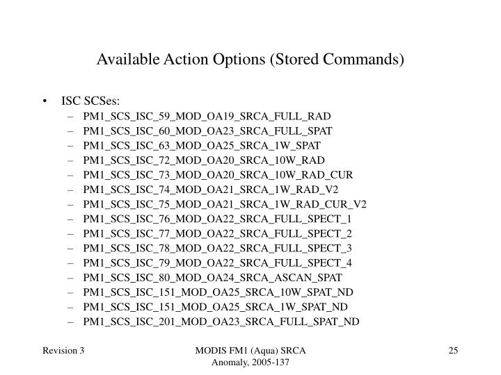Available Action Options (Stored Commands)