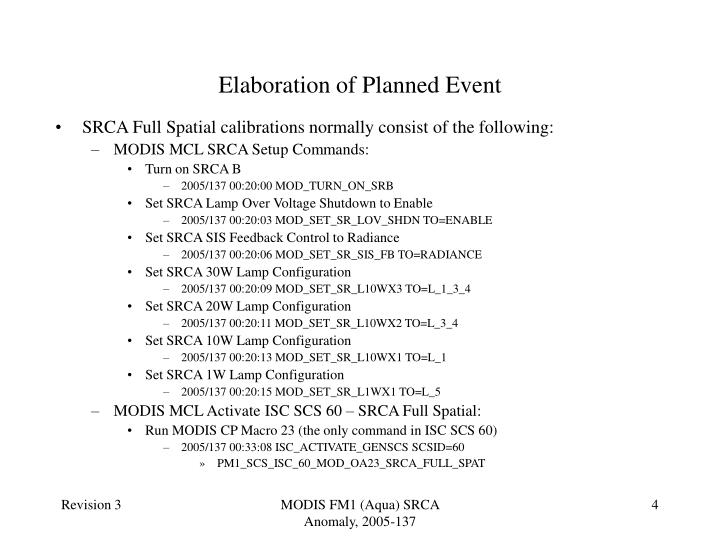 Elaboration of Planned Event