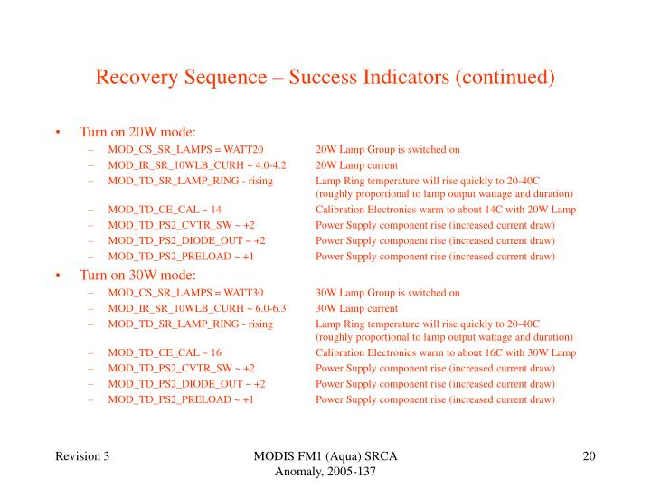Recovery Sequence – Success Indicators (continued)