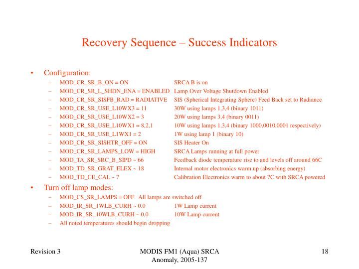 Recovery Sequence – Success Indicators