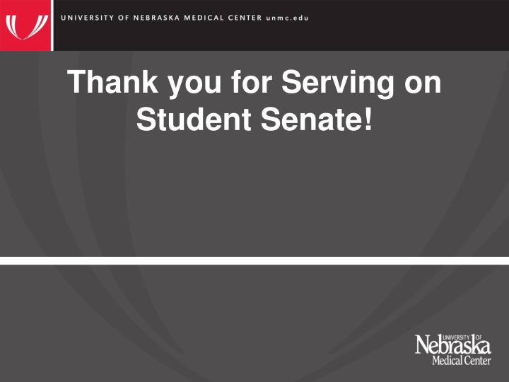 Thank you for Serving on Student Senate!