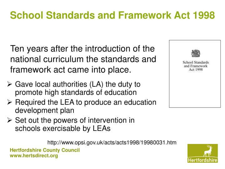 School Standards and Framework Act 1998