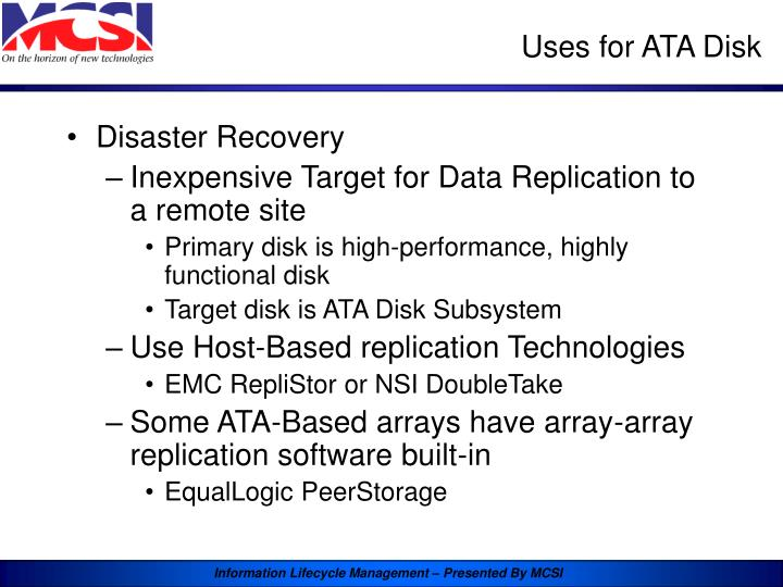 Uses for ATA Disk
