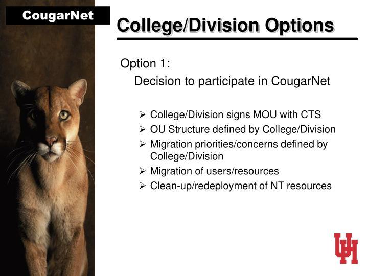 College/Division Options