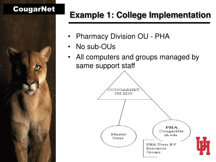 Example 1: College Implementation