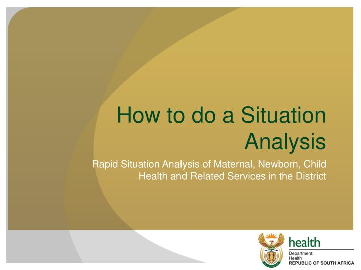 How to do a situation analysis