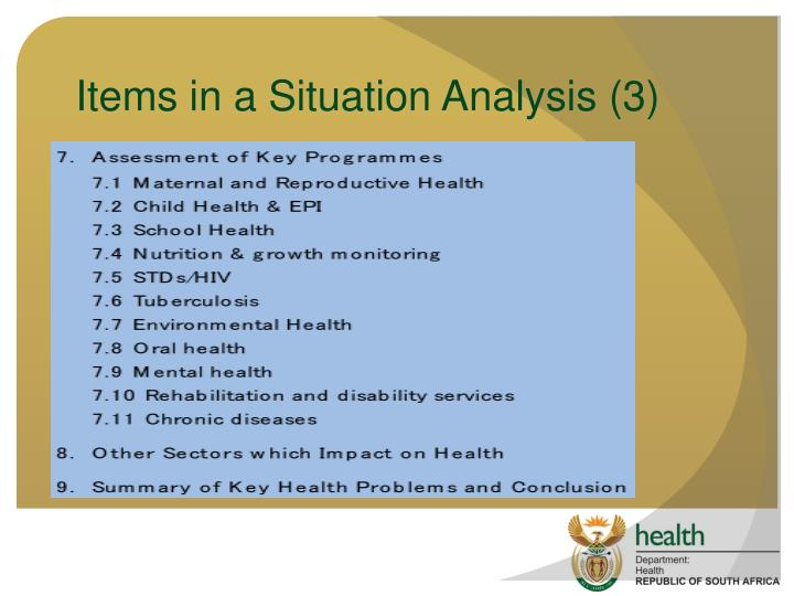 Items in a Situation Analysis