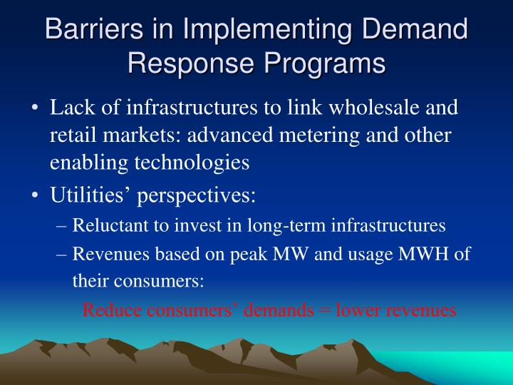 Barriers in Implementing Demand Response Programs