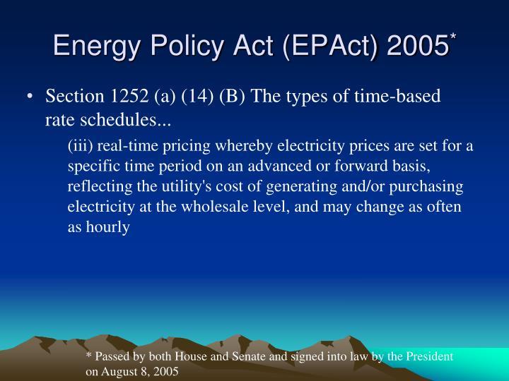 Energy Policy Act (EPAct) 2005