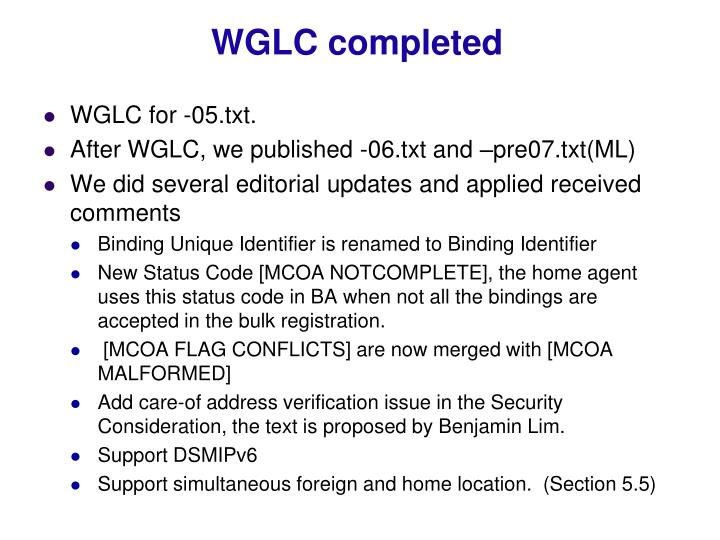 Wglc completed