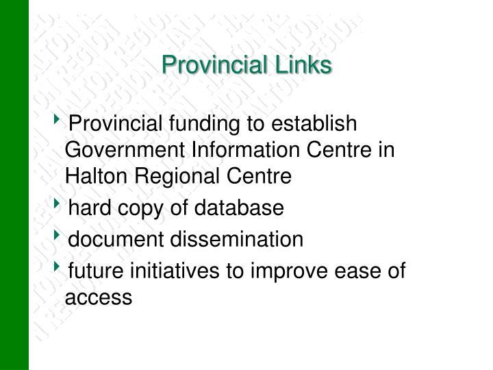 Provincial Links