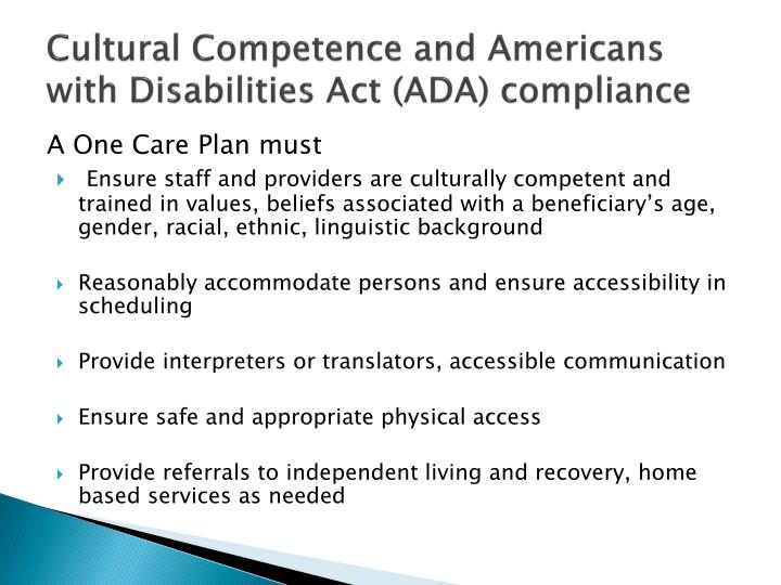 Cultural Competence and Americans with Disabilities Act (ADA) compliance