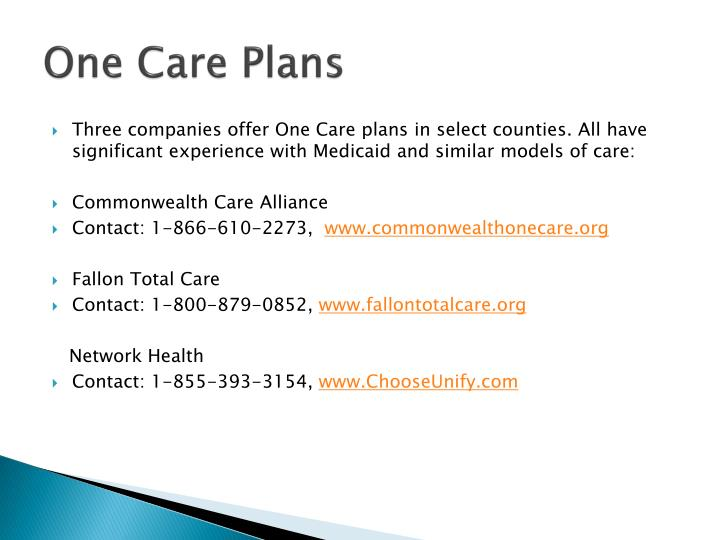 One Care Plans