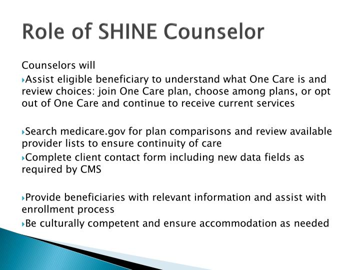 Role of SHINE Counselor