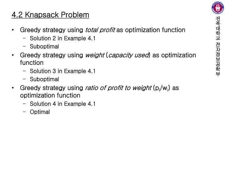 4.2 Knapsack Problem