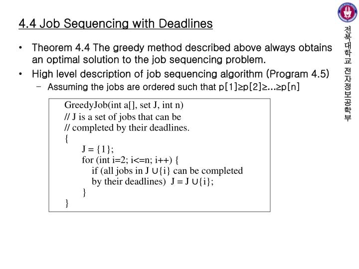 4.4 Job Sequencing with Deadlines