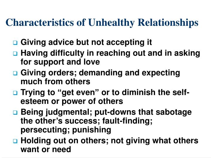 Characteristics of Unhealthy Relationships
