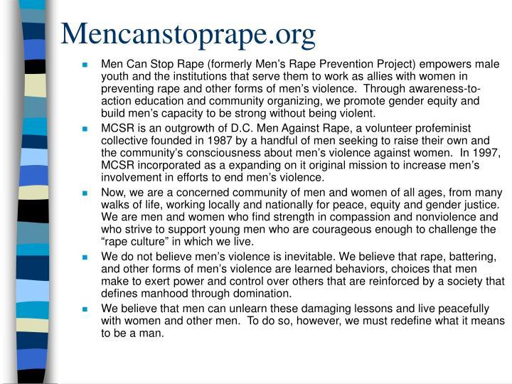 Mencanstoprape.org