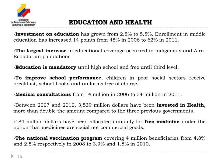 Investment on education