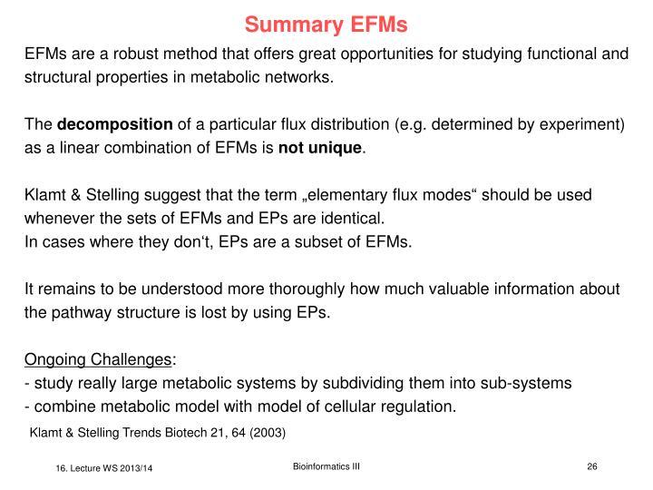Summary EFMs