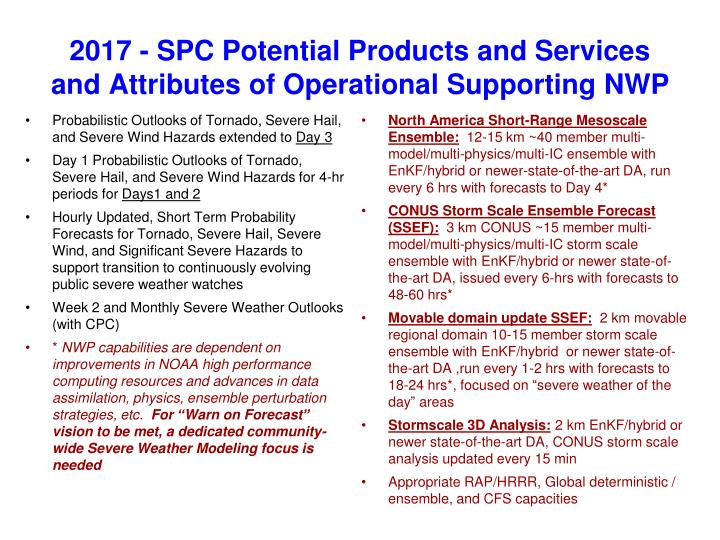 2017 spc potential products and services and attributes of operational supporting nwp