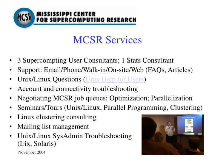 3 Supercompting User Consultants; 1 Stats Consultant