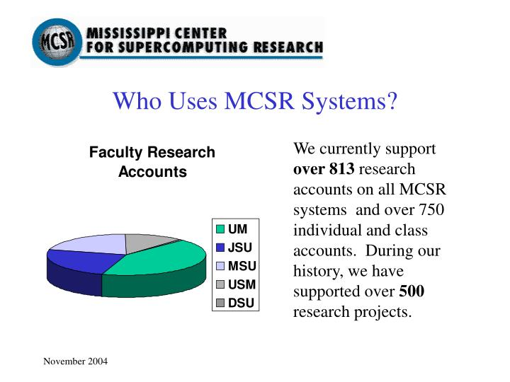 Who Uses MCSR Systems?