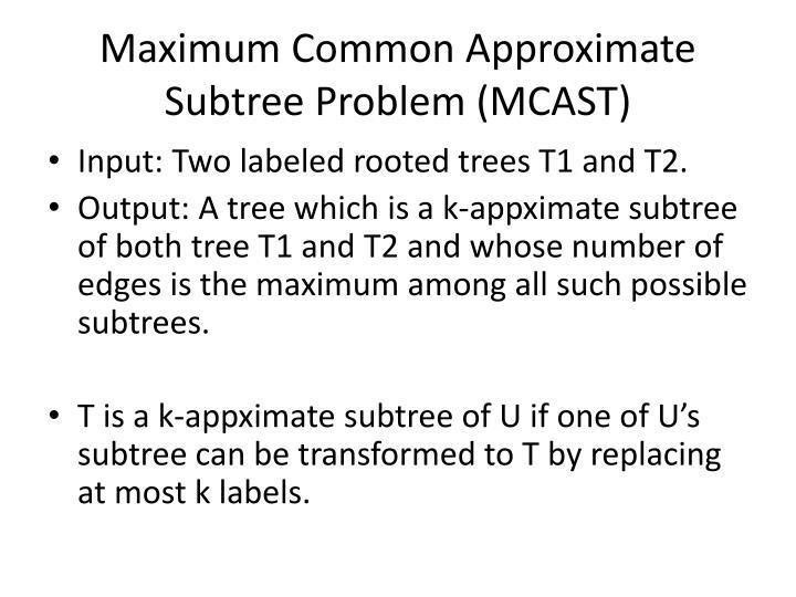 Maximum Common Approximate