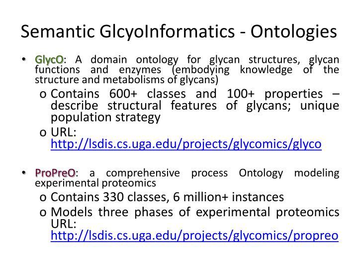 Semantic GlcyoInformatics - Ontologies