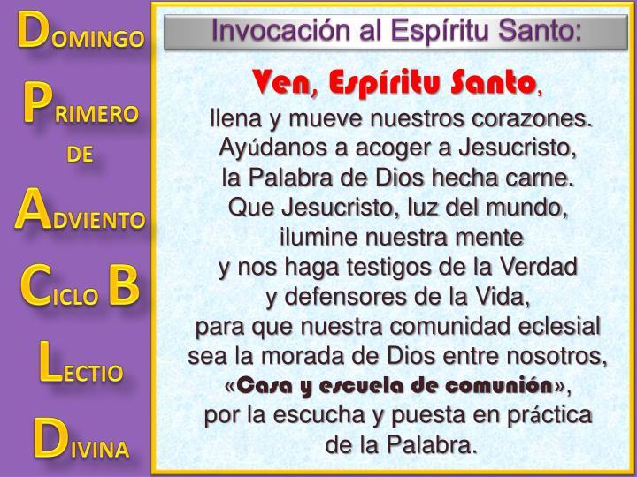 Invocación al Espíritu Santo: