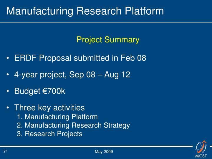 Manufacturing Research Platform