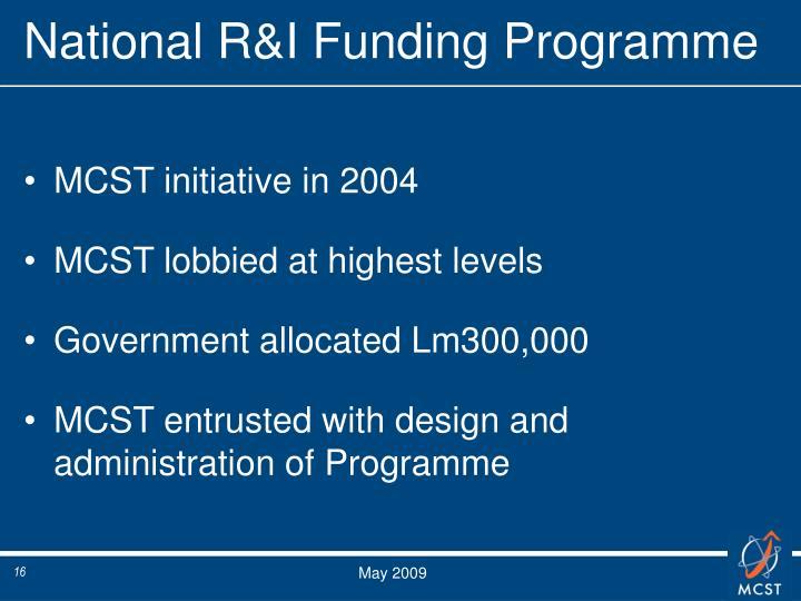 National R&I Funding Programme