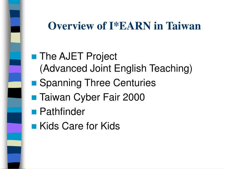 Overview of I*EARN in Taiwan