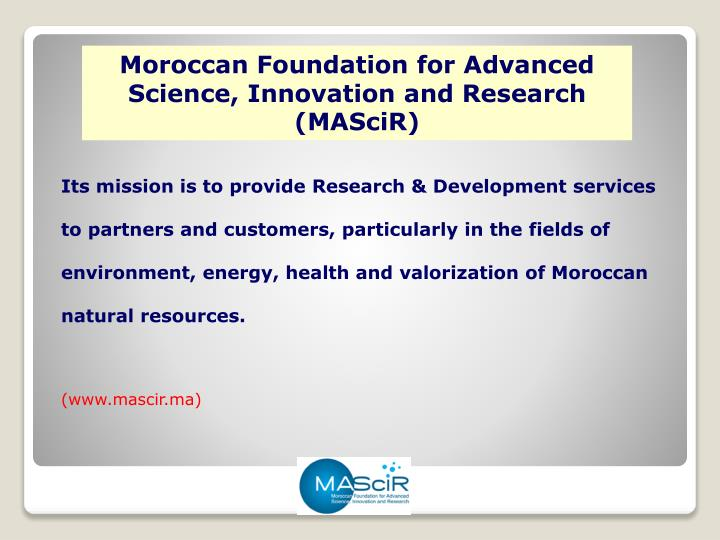 Moroccan Foundation for Advanced Science, Innovation and Research (MASciR)