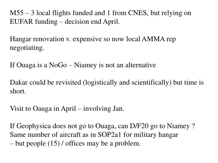 M55 – 3 local flights funded and 1 from CNES, but relying on EUFAR funding – decision end April.