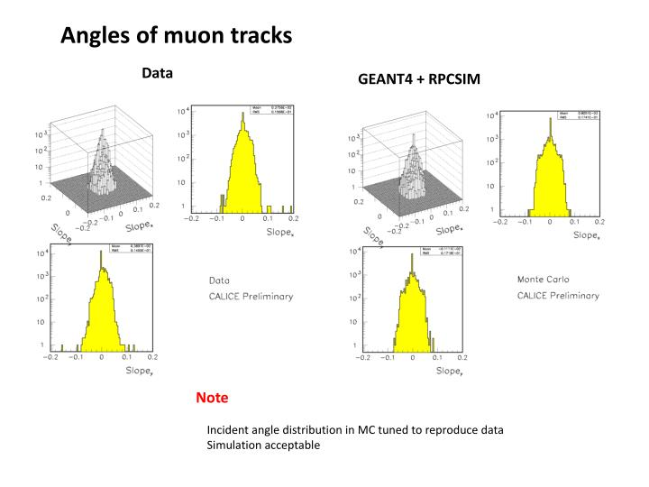 Angles of muon tracks