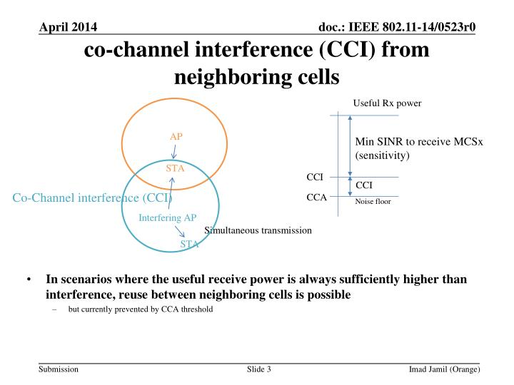 Co channel interference cci from neighboring cells