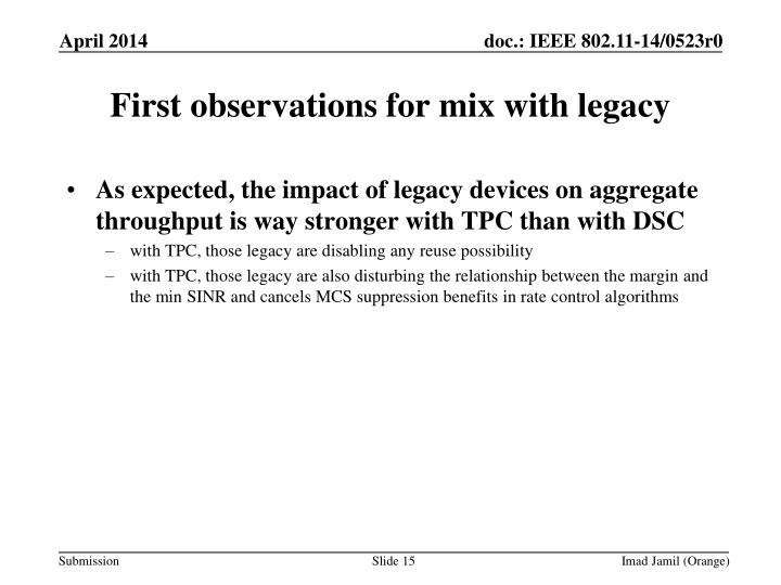 First observations for mix with legacy