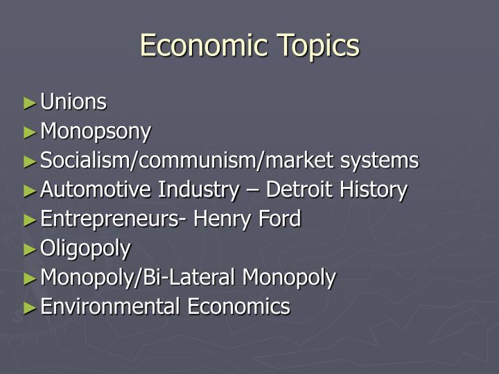 Economic Topics