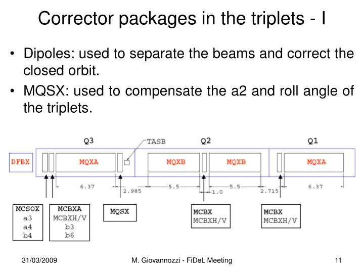 Corrector packages in the triplets - I