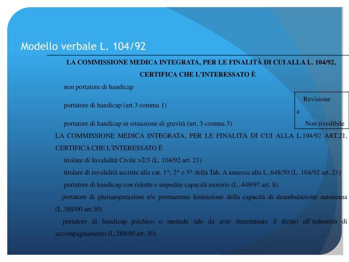 Modello verbale L. 104/92