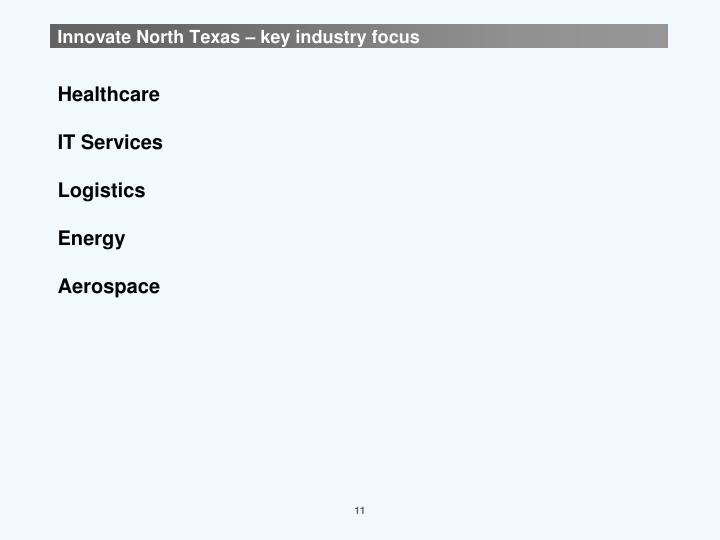 Innovate North Texas – key industry focus