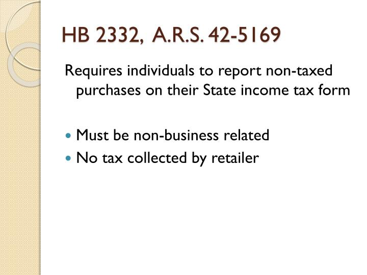 HB 2332,  A.R.S. 42-5169