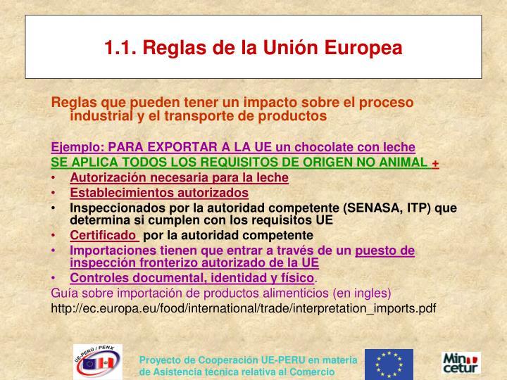 1.1. Reglas de la Unión Europea